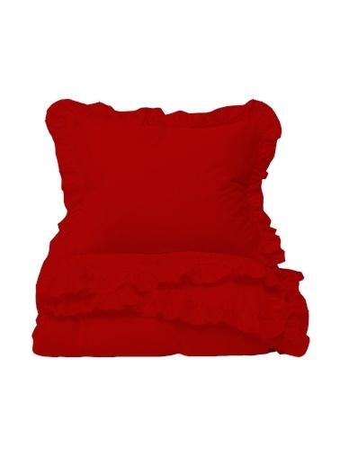 Helen George Vintage Fırfırlı Tek Kişilik Nevresim Takımı - Kırmızı Kırmızı